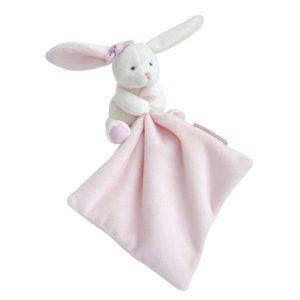 Knuffeldoekje Konijntje met roze strik