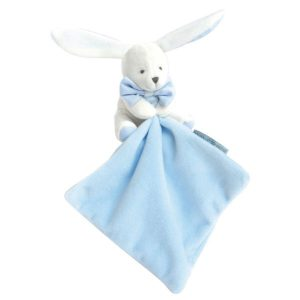 Knuffeldoekje Konijntje met blauwe strik