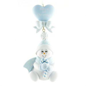 Ornament Baby hart blauw
