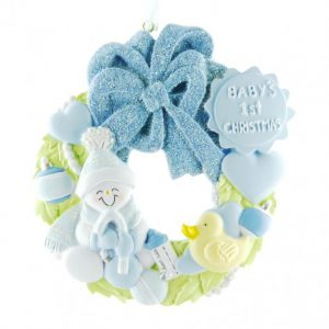 Ornament Baby krans blauw
