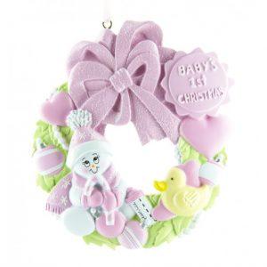 Ornament Baby krans roze